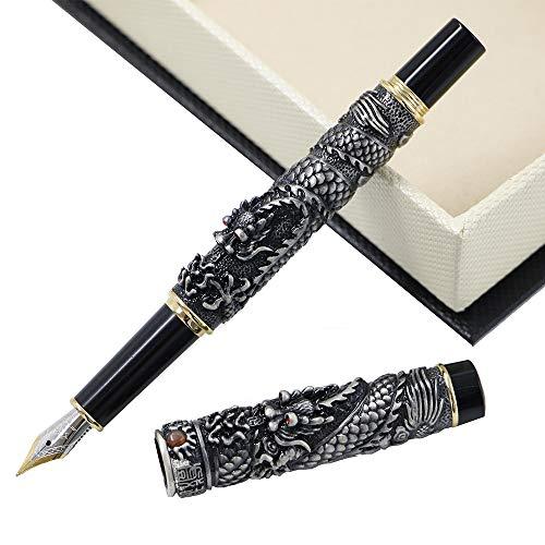 JinHao Dragon Fountain Pen 18KGP F Nib Writing Ink Pens Unique Antique Collection Pen with Luxury Pen Case Set