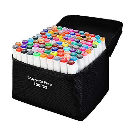 Memoffice 100 Colors Dual Tips Alcohol Markers, Sketch Markers Set for Kids Adults Artists, Alcohol Based Markers with Carrying Case for Anime Design, Painting, Highlighting, Great Gift Idea