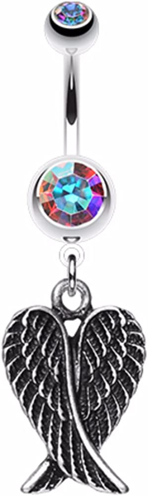 WildKlass Jewelry Angel Wing Heart 316L Surgical Steel Belly Button Ring
