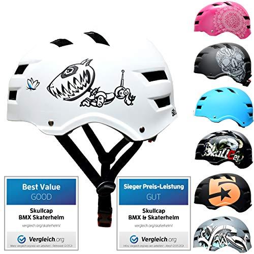 Skullcap® Skaterhelm Erwachsene Weiß Robodog - Fahrradhelm Damen Herren ab 14 Jahre Größe 55-58 cm - Scoot and Ride Helmet Adult White - Skater Helm für BMX Inliner Fahrrad Skateboard