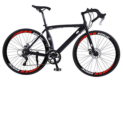 U`King Road Bikes 700c Road Bicycles Lightweight 6061 Aluminum Frame Cycling Road Bikes for Men with BB8 Alloy Disc Brakes (New Black)
