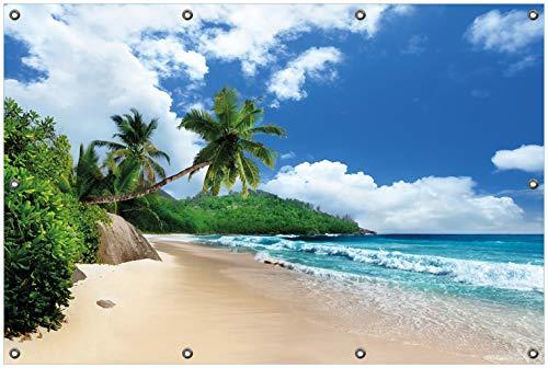 Wallario Garten-Poster Outdoor-Poster, Urlaub auf den Seychellen unter Palmen am Sandstrand in Premiumqualität, für den Außeneinsatz geeignet