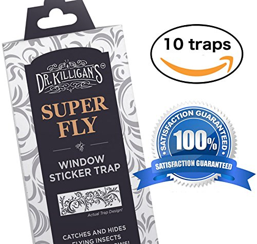 Dr. Killigan's Super Fly | Window Sticker Fly Traps | Sticky Fly Strip | Indoor Insect Trap | Get Rid of Flies | Catches Bugs Including Mosquitos, Moths, Gnats and More