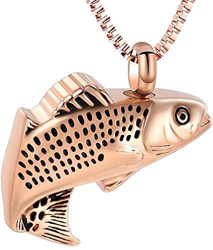 Joyería de cremación para cenizas, colgante de acero inoxidable con forma de pez, medallón, collar de urna conmemorativa, joyería de recuerdo para hombres y mujeres-Oro rosa