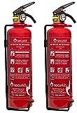SECURIKIT Pack Ahorro DE 2 EXTINTORES Polvo ABC DE 1 Kg HOMOLOGADOS para Coche Y Moto-EFICACIA: 5A 34B C