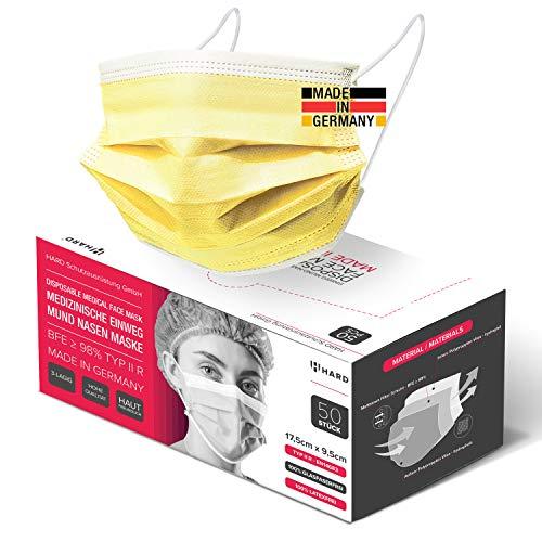 HARD 50x Medizinischer Mundschutz, Made in Germany, OP-Maske TYP IIR, CE zertifiziert EN14683, BFE 3-lagig 99,78% schützende schützende Mund-Nasen-Bedeckung, Einweg-Gesichtsmasken Erwachsene - Gelb