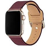 MNBVCXZ Bracelet compatible avec Apple Watch 38 mm 40 mm 42 mm 44 mm Fin Cuir Véritable Bracelet de...
