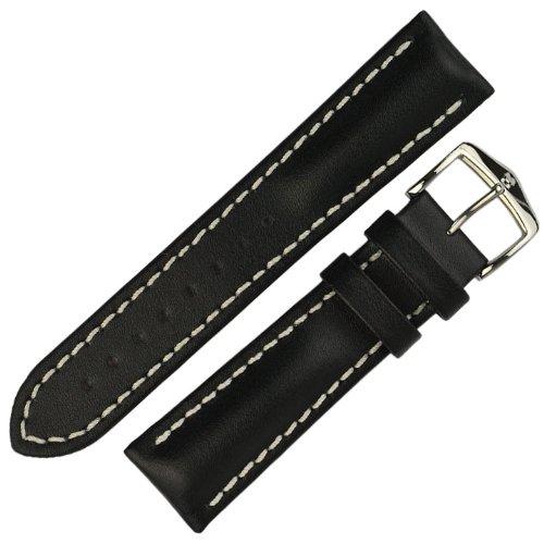 HIRSCH Herren Uhrenarmband Kalbsleder Modell Heavy Calf Größe Uhr 20 mm/Schließe 18 mm, Farbe Schwarz
