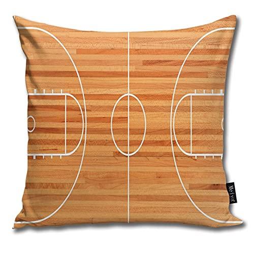 Standard Floor Plan on Parquet Backdrop Basketball Court Playground Print 装飾的な正方形の枕カバーリビングルームソファ寝室ソファクッションカバー腰部枕 カバー45x45cm(18x18インチ)