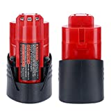 Lasica 2-Pack 12V Battery Replacement for Milwaukee M12 Battery 48-11-2401 48-11-2411 48-11-2420 48-11-2450, Compatible with Milwaukee M12 12Volt Cordless Tools Batteries