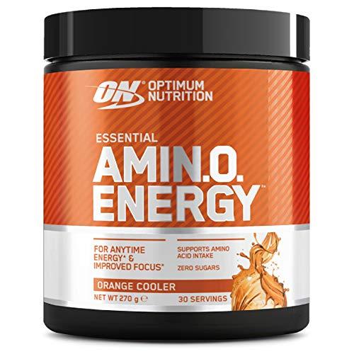 Optimum Nutrition Amino Energy, Pre Workout in Polvere, Energy Drink con Beta Alanina, Vitamina C, Caffeina et Aminoacidi, Orange Cooler, 30 Porzioni, 270g, il Packaging Potrebbe Variare