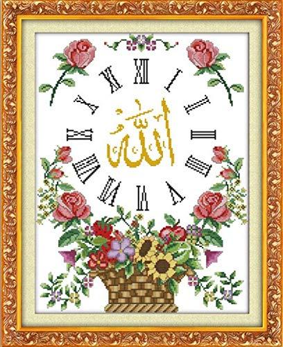 Reloj de pared islámico kit de punto de cruz flor fruta 11CT 40x50cm cuenta lienzo impreso bordado DIY hecho a mano costura