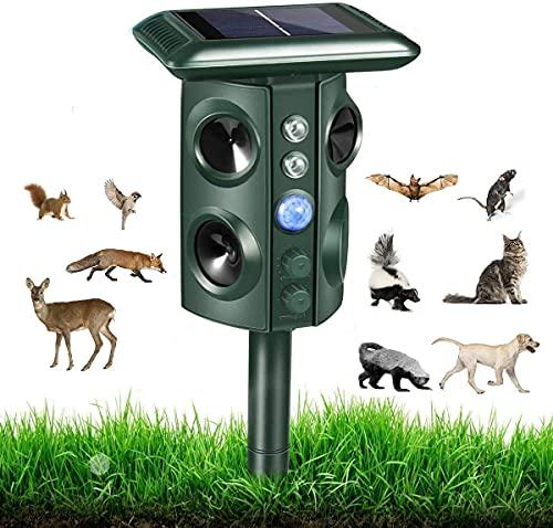 Katzenabschreckung im Freien 2021 Upgrade Ultraschall Katzenschreck für Garten, Solar-Tierabwehr, Ultraschall-Abwehr, Ultraschall-Abwehr, Ultraschall-Abschreckung für Katzen, Hunde und Nerze