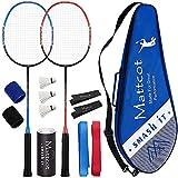MATTCOT Badminton Set of 2 Rackets – 2 Carbon Fiber Rackets, 3 Badminton Birdies, 2 Sweatbands,...