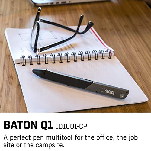 Product Image 1: SOG Multitool Tactical Pen – Baton Q1 TSA Approved Travel Accessories, Multitool Pen with Travel Scissors, EDC Gear (ID1001-CP), 4 Tool