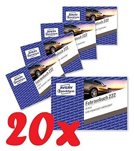 Avery Zweckform 222-10 Fahrtenbuch für PKW (A6 quer, 40 Blatt) 10er Pack, weiß (20 Stück)