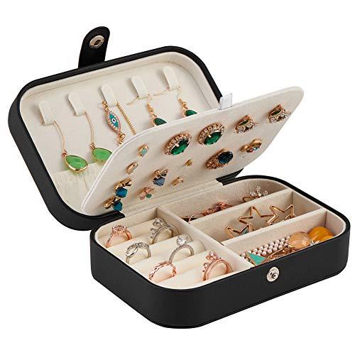 Tasybox - Portagioie da viaggio, in pelle, per donne e ragazze, con custodia per gioielli e accessori portatile, colore: nero