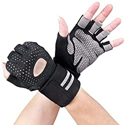 Avril Tian Sport Gloves, Workout Gym Gloves with Wrist Brace, Support for Powerlifting, Fitness, Bodybuilding, Best for Men and Women, Large