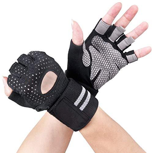 Avril Tian Sport Handschuhe, Trainings Gym Handschuhe mit Handgelenkbandage, Unterstützung für Powerlifting, Fitness, Bodybuilding, Best für Herren und Damen,Large