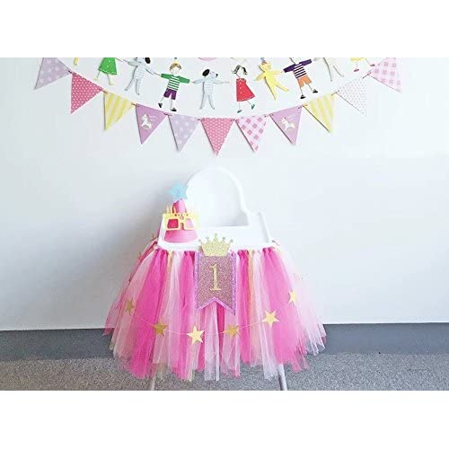 1st 2nd Birthday Baby Girl Tutu Skirt For High Chair Decoration And Twinkle Little Star Banner 13 Feet Happy Decor Highchair Party Supply