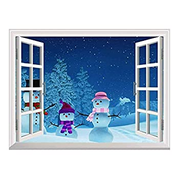 wall26 Cartoon Snowmen Outside of The Window on Christmas Eve Peel and Stick Wall Mural Sticker - 36 x48