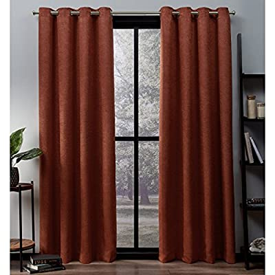 Exclusive Home Curtains Oxford Textured Sateen Thermal Window Curtain Panel Pair with Grommet Top, 52x108, Mecca Orange, 2 Piece