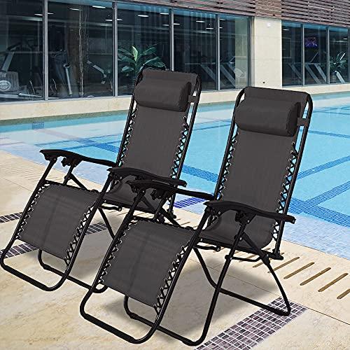 Dreamo Liegestuhl für den Garten, tragbar, Textilene, verstellbar, Schwerkraft-Liegestuhl, Schwarz, 2 Stück