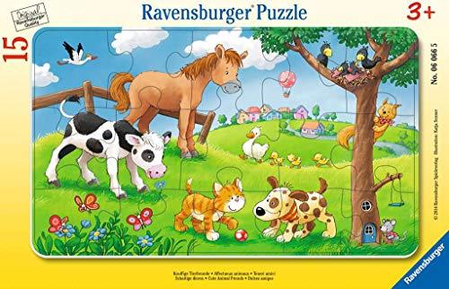 Ravensburger - 06066 - Puzzle Enfant avec Cadre - Affectueux Animaux - 15 Pièces