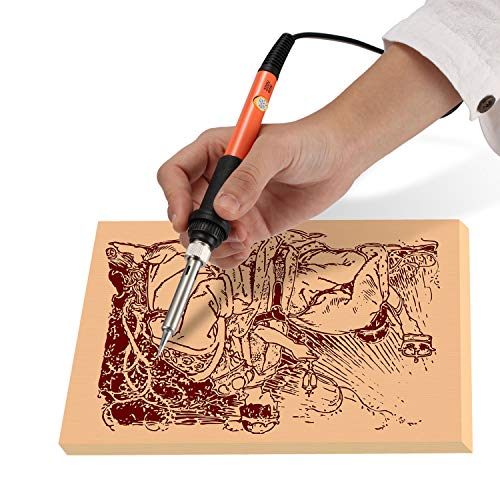 L.J.JZDY Carving Pyrography Kit 60W Electric Soldering Iron Wood Burning Kit Best Pyrography Pen Wood Burner Tool with Adjustable (Plug Type : UK, Size : Free)