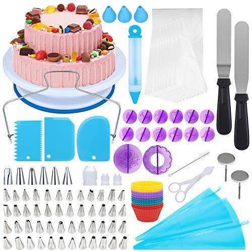 [Neueste] 150 Teiliges Tortenplatte Drehbar Tortenständer Kuchen Drehteller Cake Decorating Turntable Sprühdüsenset Kuchenzubehörset Gebäckwerkzeug für Backen Gebäck, Zuckerguss, Mustern