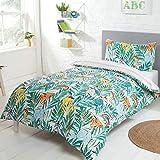 Sleepdown Parure de lit réversible avec Housse de Couette et taie d'oreiller pour Enfant Motif Arc-en-Ciel Safari Rayures pour Enfant Motif Rayures Multicolore 120 x 150 cm