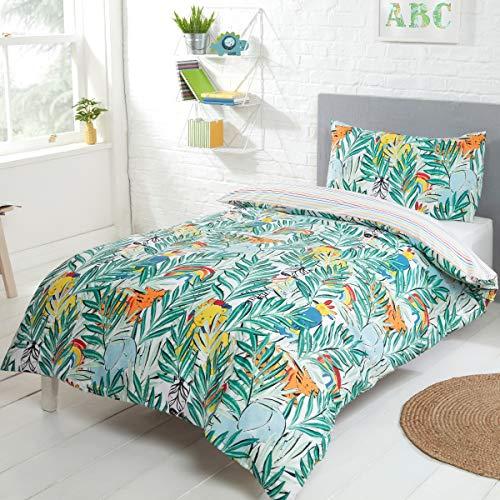 Sleepdown Rainbow Safari - Juego de Funda de edredón Reversible y Funda de Almohada, diseño de Rayas, 135 x 200 cm, polialgodón Multicolor