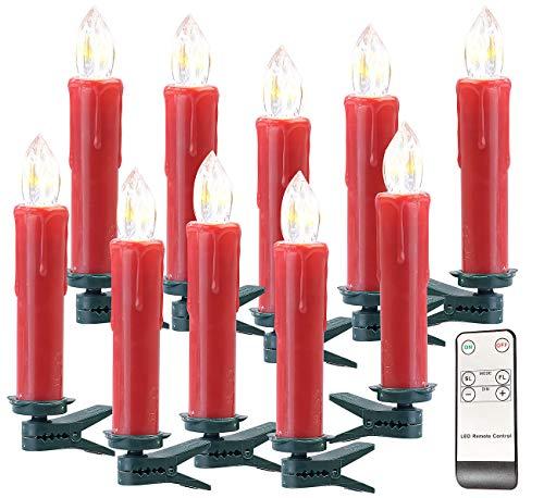 Lunartec Kerzen mit Batterie: FUNK-Weihnachtsbaum-LED-Kerzen mit Fernbedienung, 10er-Set, rot (Elektrische Weihnachtskerzen)