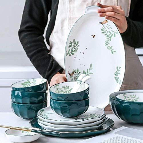 GAXQFEI Cerámica Vajillas, 36 Piezas Nórdica Ins Estilo Porcelana Combinación Set - Bol/Plato/Cuchara | Idílico Verde Vajilla para Restaurante Reunión de la Familia
