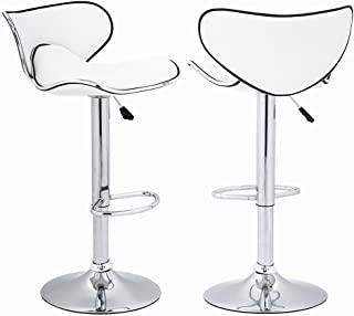 BestOffice Adjustable Height Swivel Bar Stools with Chrome Base Counter Height Stools,Set of 2