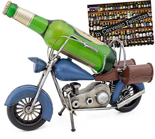 BRUBAKER Porta Botella de Vino - Motocicleta Azul - Portabotellas de Metal Decoración con Tarjeta de Felicitación - Regalo de Vino