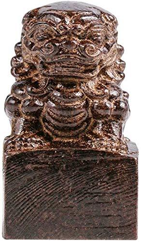 Chinesische Feng Shui Holzfigur Fu Foo Hunde Löwe Dekoration Siegel Bestes Einweihungsgeschenk um Reichtum und Glück anzulocken, antikes Handwerk