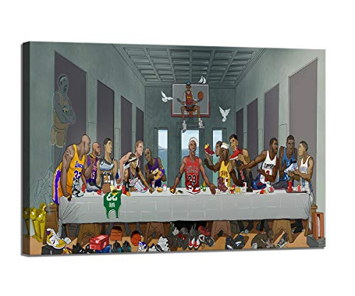 NBA Superstar Wall Art Kobe Bryant Wall Decor Chamberlain Jordan O'Neill James The Last Supper NBA Wall Art for Bedroom Home Decor Framed Ready to Hang
