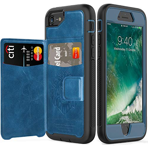 iPhone 6 7 8 Case,SXTech Full-Body Heavy Duty Protection Case with a Dual Layer Wallet designlot & Kickstand for iPhone 6 7 8 4.7 Inch PC TPU and PU Leather 3 Layer Hybrid Case-All Black