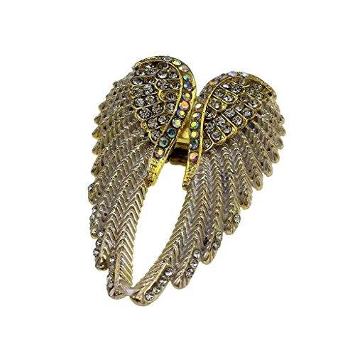 joyMerit Anillo de ala de ángel para Mujer, Anillo Elástico de Cristal Brillante, Joyería Antigua, Plata / Oro - Oro A