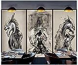 XHBH Fondo De Pantalla En 3D Ukiyo-E Tattoo Warrior Tooling WallPisos De Papel Tapiz 3D Piso Submarino 3D Dolphin Madre E Hijo Sala De Estar En 3D Centro Comercial Hotel Hotel Pisos 3D-420X320Cm