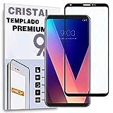 REY Protector de Pantalla Curvo para LG V30, Negro, Cristal Vidrio Templado Premium, 3D / 4D / 5D