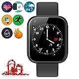 Brazalete Táctil Inteligente de Color de Alta definición con Monitor de frecuencia cardíaca IP67 Impermeable y Resistente al Polvo Reloj Deportivo de Moda para iOS Android Smartphone,P70 Negro