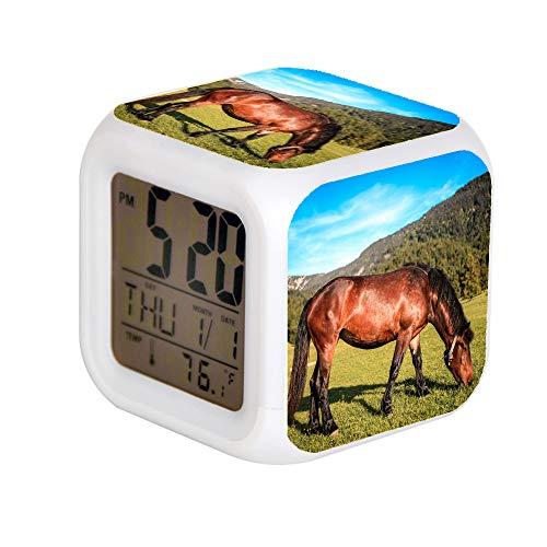 GIAPANO LED Alarm Colock 7 kleuren bureau gadget alarm digitale thermometer nachtdobbelsteen lichte wooncultuur bruin paard eten gras