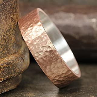 6mm Wedding Band 18K Rose Gold Vermeil 925 Sterling Silver Hand Forged Hammered Mens Women Unisex Flat Pipe Cut Thick Handmade Ring - FREE Engraving