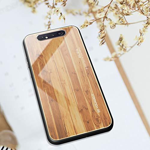 Ysimee kompatibel mit Samsung Galaxy A80 /A90 Hülle - Holz Design Gehärtetes Glas Zurück mit Weiche TPU Silikon Rahmen Schutzhülle Silikon Bumper Schutz vor Stoßfest/Scratch HandyHülle, Holz -3
