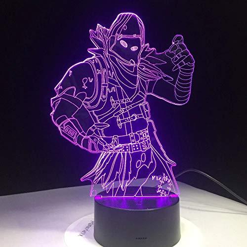 Juego creativo de piel 3D LED luz multicolor interruptor táctil lámpara de mesa lámpara de lava acrílico ilusión habitación iluminación juego regalo anime fans regalo