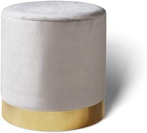 LIFA LIVING Puff Taburete de Terciopelo | Otomana reposapiés con Borde de Metal Dorado | para salón y Dormitorio (Gris Claro, 38 x 38 cm)