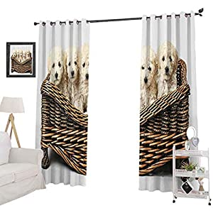 Crib Bedding And Baby Bedding Yuazhoqi Window Treatment Curtains Cute Little Baby Dogs In A Wooden Basket Waiting For Food Groomed Animal, Light Blocking Drapes For Nursery 52&Quot; X 63&Quot;, Brown Beige