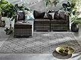 - LordOfRugs - Florence Alfresco Moretti Geometric Pattern Flatweave outdoor and indoor Rug (Milan Grey & Black, 120x170 cm (4'x5'6''))